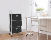 Urban Shop 3 Tier Storage Rolling Cart, Black
