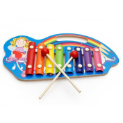 HEART SPEAKER 8 Keys Wooden Hand Knock Xylophone Musical Instrument with 2 Mallets Kids Toy size Girl