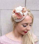 Starcrossed Boutique Nude Beige Cream Rose Flower Fascinator Headband Races Wedding Net Hair Vtg 3974