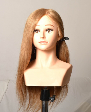 CrisNails ® Hair Model Long Synthetic Hair Hairdressing Training Head Mannequin Cut for Salon Practise with Clamp Dummy Model