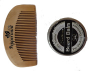 Peppermint Cafe Gent's Pocket Beard Comb and Wax Kit - Finest quality bamboo, Anti Static, No Snag - Perfect for Oils & Balms - Pocket Size - Wooden Beard Comb and Wax Set