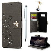 For Samsung Galaxy Note 8 Case,Badalink Bling Glitter Case Diamonds Butterfly Embossed Wallet Case PU Leather Case Folio Cover Rubber Back Holder Magnetic Closure Card Slots with Wrist Strap for Samsung Galaxy Note 8,Grey