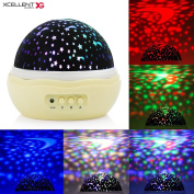 Xcellent Global Moon Star Projector Light Baby Night Light 360 Degree Rotating Mood Light Lamp with 3 Modes for Nursery Children Bedroom LD145