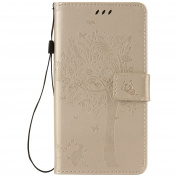 Lenovo Moto Z Force Case Leather, Ecoway Cat and tree Patterned Embossing PU Leather Stand Function Protective Cases Covers with Card Slot Holder Wallet Book Design Detachable Hand Strap for Lenovo Moto Z Force - Golden