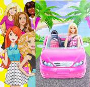 Mattel Barbie Glam Convertible Vehicle & 30cm Barbie Doll Set | Glittering Pink Car with working Seat Belts - 36cm long Car