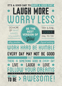 Be Awesome Laugh More Worry Less Be The Best Version Of You Love Poster - 24x36