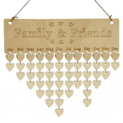 Saihui Wood Birthday Reminder Board Birch Ply Plaque Sign Family & Friends DIY Calendar