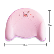 JUYUAN Baby Pillow Made of Memory Foam prevents flat-head syndrome and positional plagiocephaly Ultra Soft Memory (0-18Months) (32*23*1.5/5 cm) - Pink