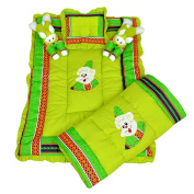 Maple Krafts Poly Cotton Baby Bedding set Super soft comfortable 0-18 Months Green with Multicolor Lines with Pillows