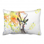 Emvency Pillowcases Modern Goat Head Pencil Art Watercolour Pillow Cover 50cm x 90cm King Size Rectangle Sofa Cushion Decorative Pillowcase With Hidden Zipper Home Sofa