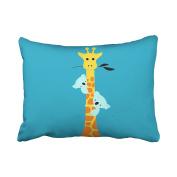 Emvency Pillowcases Cute Cartoon Giraffe Sloth Lovely Polyester Pillow Cover 50cm x 70cm Standanrd Size Rectangle Cushion Decorative Pillowcase With Hidden Zipper Home Sofa