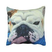Emvency Throw Pillow Covers Funny Cute French Bulldog Face Tongue Eyes Watercolour Pillowcases Polyester 46cm X 46cm Square With Hidden Zipper Home Sofa Cushion Decorative Pillowcase