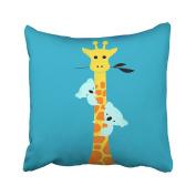Emvency Throw Pillow Covers Cute Cartoon Giraffe Sloth Lovely Pillowcases Polyester 46cm X 46cm Square With Hidden Zipper Home Sofa Cushion Decorative Pillowcase