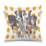 Double Sided Hand Drawn Beautiful Dog Polka Dot Cotton Velvet Throw Pillow 46cm x 46cm Zipper Pillowcase for Decorative Pillows