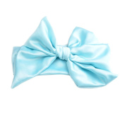 Haodou Baby Girls Rabbit Bow Ear Headbands Turban Knot Tie Headdress Manual Big Bowknot Satin Solid Colour Hair Bands 110cm x 7cm (Light Blue)