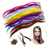 HQdeal Synthetic Hair Extension Kits with 52 Synthetic Assorted Colours Stick Tip Hair Extensions, 100 Beads, Pliers and Hook