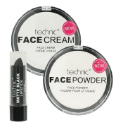 Technic Halloween Make Up Set White Foundation Cream White Powder and Matte Black Lipstick