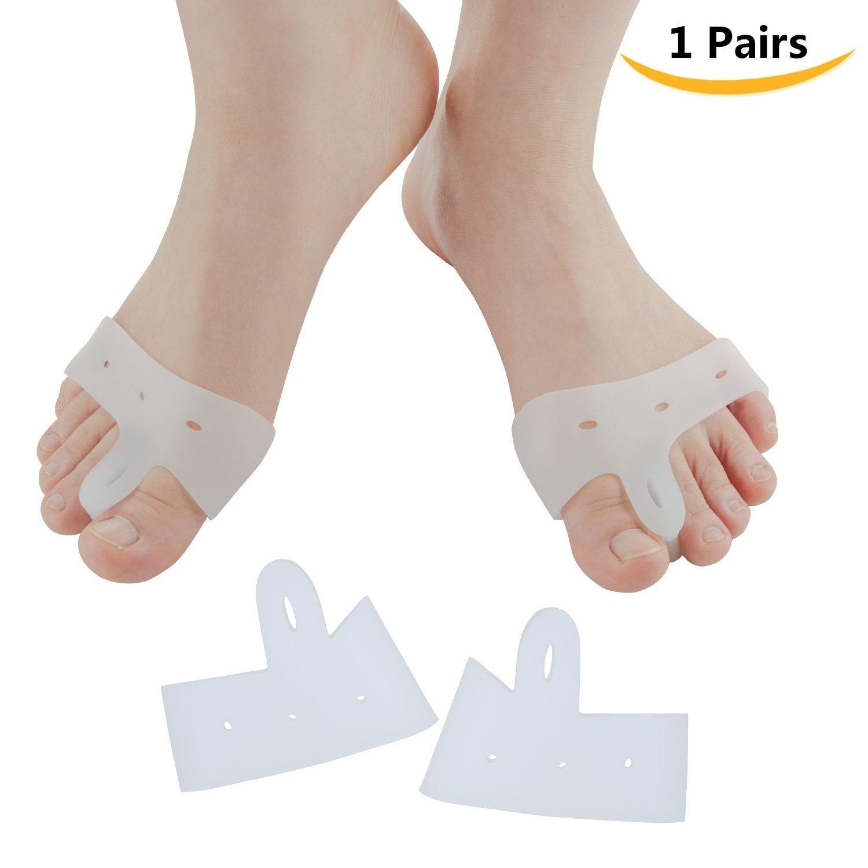 Sumifun 1 Pair Bunion Pad Hallux Valgus Relief Gel Soft Big Toe Separators,  Bunion Splint Spacer Corrector Foot Care Tools (White)