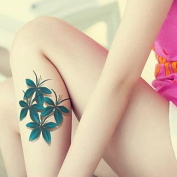 MZP Clover Flowers Red Blue Colour Waterproof Flower Arm Temporary Tattoos Stickers Non Toxic Glitter
