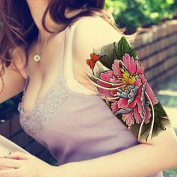 MZP Peony Flower Butterfly Waterproof Flower Arm Temporary Tattoos Stickers Non Toxic Glitter