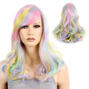 STfantasy Pastel Rainbow Ombre Mid Length Curly Wig for Women Halloween Party Hair 50cm w/ Cap