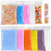 Ohuhu Foam Balls for Slime, 11 Packs of Colourful Styrofoam Foam Balls with 0.1-0.5cm and 0.28-0.9cm Styrofoam Beads Balls and 3 Packs of Slices for Arts and DIY Crafts Supplies