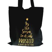 Christmas Dance on the Table Season Prosecco Funny Cotton Black Tote Shopping Bag Gift