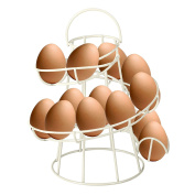 CrazyGadget® Cream Coloured Helter Skelter Egg Basket Wire Spiral Egg Run Storage Holder Stand Display Retro Vintage Style Egg Display with Carry Handle Holds up to 12 eggs. Wide selection with 11 colours to choose from.