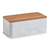 Zeller Marble 19332 Bread Bin with Bamboo Lid Metal Bread Bin – White, 42.5 x 22.9 x 16.5 cm