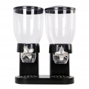 Ardisle Double Cereal Dispenser Black Plastic Storage Container Dry Food Rice Machine