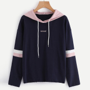 Women Hoodies, Brezeh Letter Print Round Neck Striped Hooded Embroidery Sweatshirt Pullover Tops Blouse
