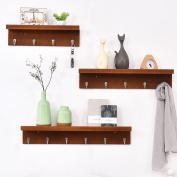 Wall-mounted coat rack, bedroom wall solid wood coat rack, hall white coat rack, three-piece multi-purpose shelves
