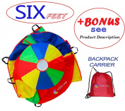 Parachute 1.8m for Kids with Extra Strong Smudge Resistant-Handles, Proper Selection of Matching Colours On the Basis of Experimental Colour Testing, with High-Grade Stitching