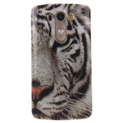 For LG G3 Case Cover, Ecoway TPU Clear Soft Silicone Back Colourful Printed Pattern Silicone Case Protective Cover Cell Phone Case for LG G3 - White Tiger