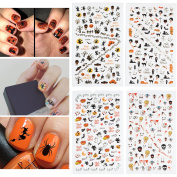 Fanme Halloween Nail Stickers 3D Nail Art Tattoo Decals DIY Nail Art Decoration Self-adhesive Tip Stickers 4Sheets