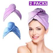 Eastshining Microfiber Hair Drying Wrap Towel Super Absorbent Fibre Fast Dry Twist Head Towel for Wet Hair 2 Pack