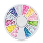 Glitter Nail Art Decorations,3mm 4mm 500pcs/set Mixed Design Nail Tips Sequins,Manicure Wheel Nail Beauty gift set