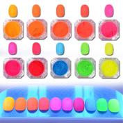 NICOLE DIARY Gradient Neon Phosphor Powder Dust Nail Pigment Glitter Powder Manicure Nail Art Decoration