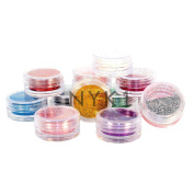 NYK1 12 x NAIL ART GLITTER POTS COLOURED FINE DUST POWDER FOR ALL NAIL ART, FACE, BODY and HAIR DECORATION AND DESIGN
