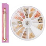 NICOLE DIARY 120Pcs Pearl Nail Art Dangle Ring and 1 Pc Gold Dangle Nail Charm Art Piercing Tool Hand Drill Set