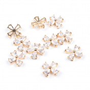 So Beauty 10 Pieces 3D Cute Flower with Oval Zircon Rhinestone Nail Art Slices Glitters DIY Decorations