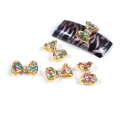 So Beauty 10pcs Gold Bow with Colourful Rhinestones 3D Nail Art Glitters DIY Decorations