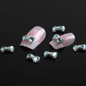 So Beauty 10pcs Alloy Bow with Blue Rhinestones 3D Nail Art Glitters Stickers DIY Decoration