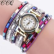 AMA(TM) Women Fashion Rhinestones Analogue Quartz Bracelet Watches Wrap Around Wristwatch Gifts