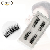 Canghai 4 Pcs Magnetic False Eyelashes Ultra Thin 3D Natural Reusable Fake Eyelashes Three Magnets Fake Eyelash Extensions Black 03