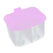 Saim Green Style Plastic Salt Condiment Spices Container Case with 2 Compartments