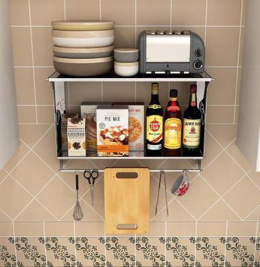 Spice Racks Kitchen Shelf Stainless Steel Seasonings Kitchen Supplies Shelves Double Layer Wall Mount Multifunction Kitchen Finishing Rack