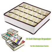 24 Cell Collapsible Nonwoven Bra Storage Box Container Drawer Divider Lidded Closet Boxes For Ties Socks Bra Underwear Organizer