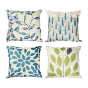 Top Finel Leaf Cotton Linen Pillows Luxury Cushion Covers Square Pillowcase Decorative Sofas Beds Chairs Set of 4, 46cm x 46cm ,Series 4