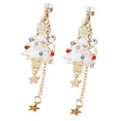 Cdet 1 Pair Earring Clip Woman Christmas Tree Diamond Star Pendant Ear Studs Dangle Lady Earring Jewellery Accessories Love Gift White